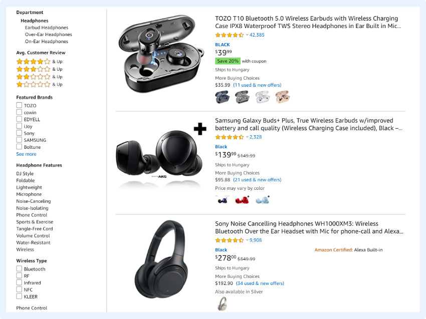 Amazon's faceted filter options are relevant to the products