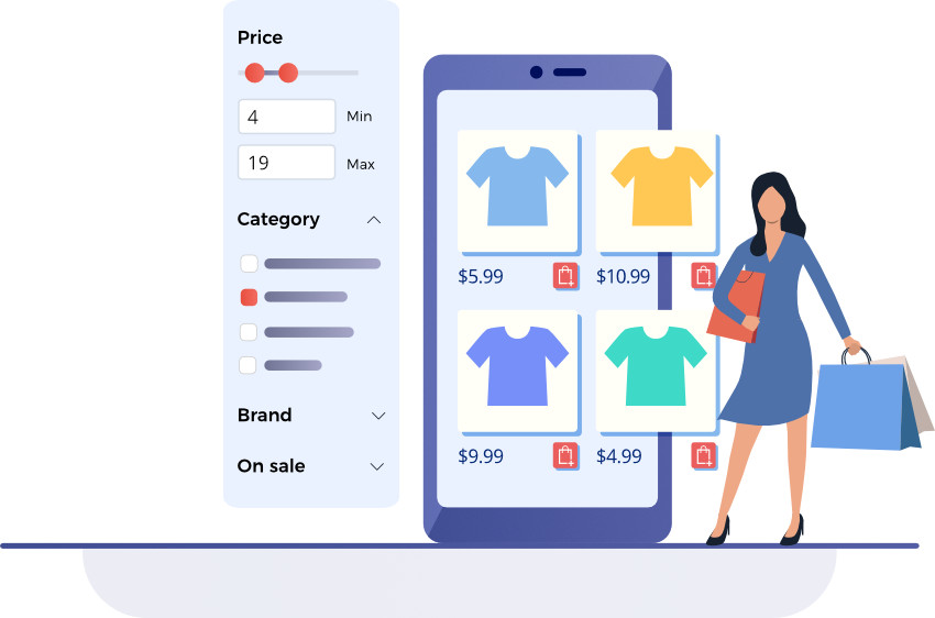 if a shopper runs a site-wide search, you can provide a filter that focuses on that category and add additional ones for the most common attributes
