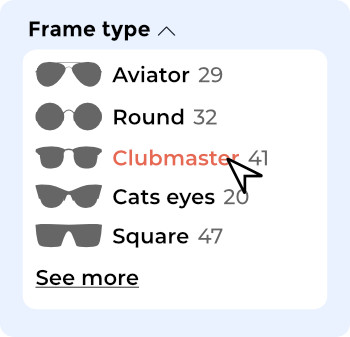 faceted filter with style names names and pictures