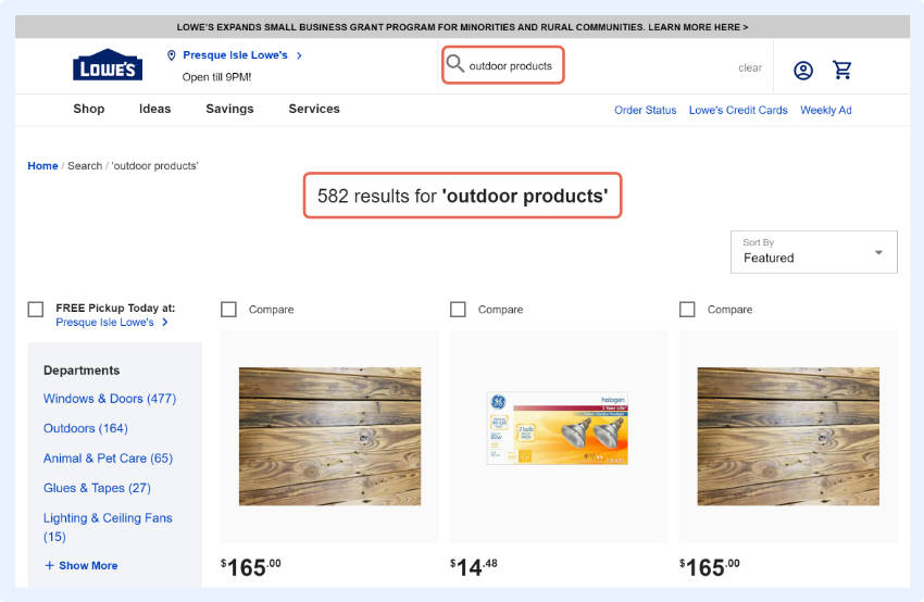 keep the search term displayed for the shopper and provide them a chance to iterate on the query