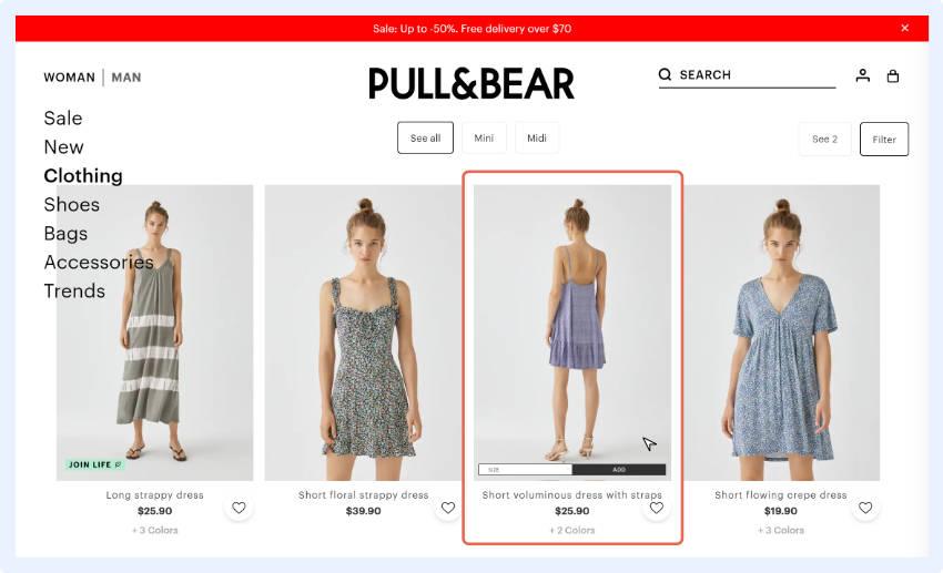 """Schnellansichtsfenster zeigen eine Miniversion der Produktseite mit einer """"In den Warenkorb""""-Schaltfläche."""