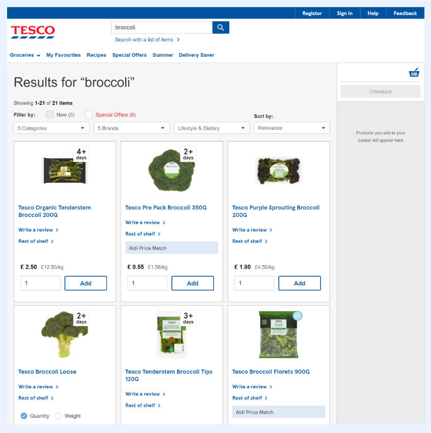 different views are available for the shopper to tailor the appearance of the SERP