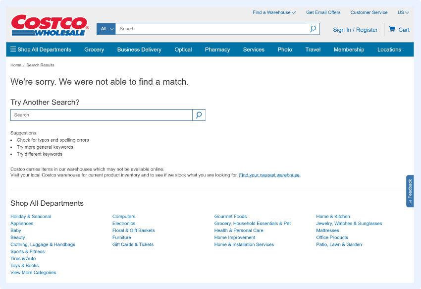 Costco - alternativen Ergebnisse basierend auf Popularität oder Benutzerverhalten