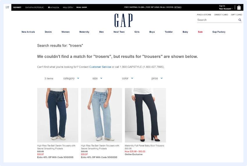 GAP -  zeigen sieErgebnisse für den Suchbegriff, den Sie möglicherweise falsch geschrieben haben