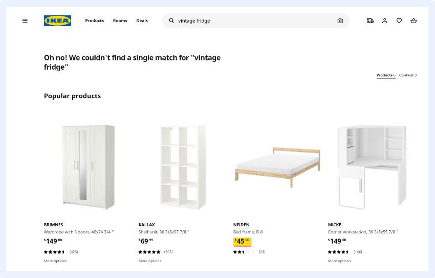 """IKEA - Benutzerfreundlichkeit der """"Keine Ergebnisse gefunden""""-Seite"""