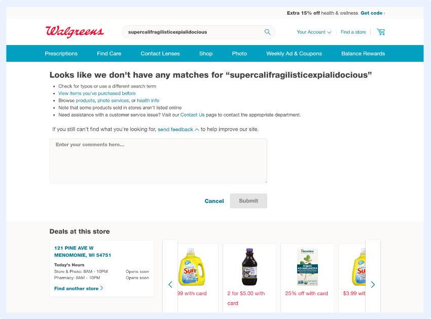 Waégreens - den Kunden hilft, ihre Suche zu wiederholen oder zu verfeinern