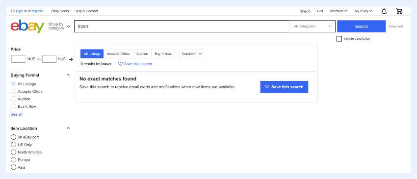 eBay - Suche zu speichern und Benachrichtigungen einzustellen, wenn das gewünschte Produkt verfügbar ist