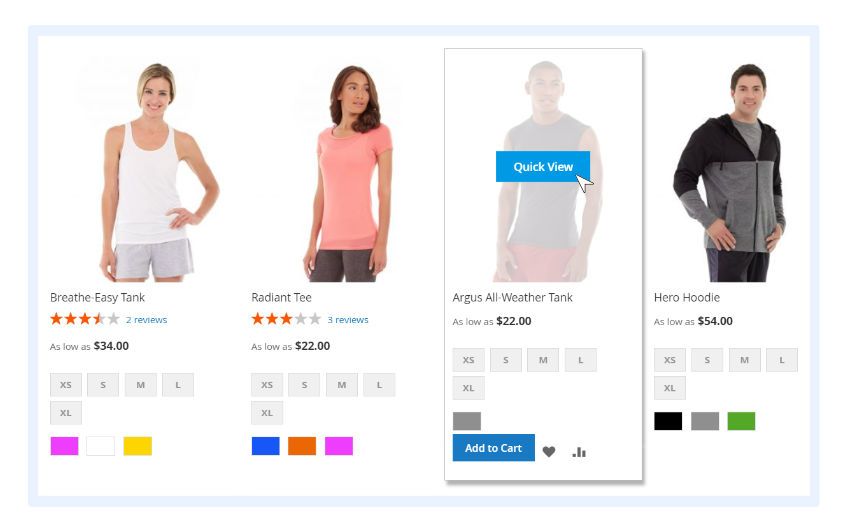 add-to-cart and quick-view features on category pages