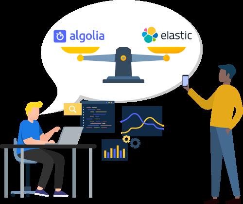 Algolia vs Easticsearch site search comparison guide