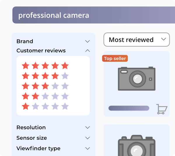use customer reviews and ratings as product filter options on eCommerce category pages