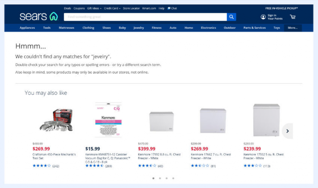Sears No Search Result Found Pages