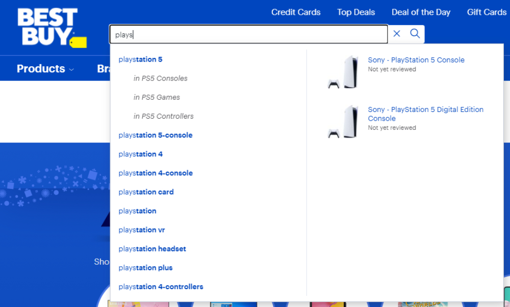 Search Autocomplete on Best Buy