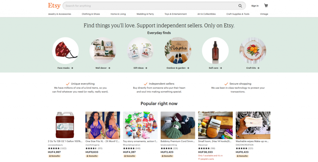 Etsy has a full width site search bar