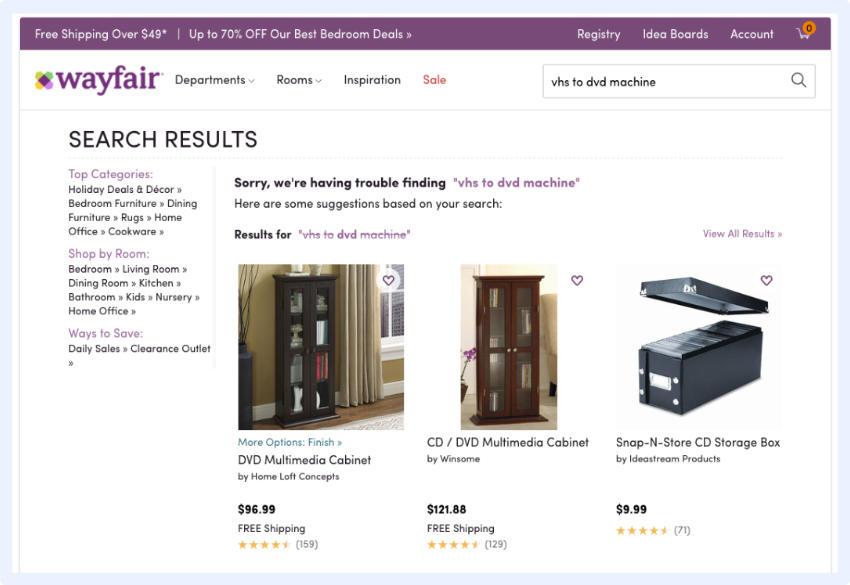 Wayfair - Suchanfrage auf und nutzt die einzelnen Schlüsselwörter, um weitere relevante Ergebnisvorschläge zu liefern